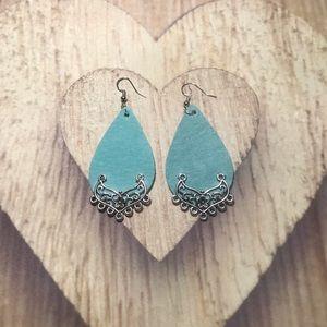 Jewelry - Turquoise💧Leather Teardrop Earrings